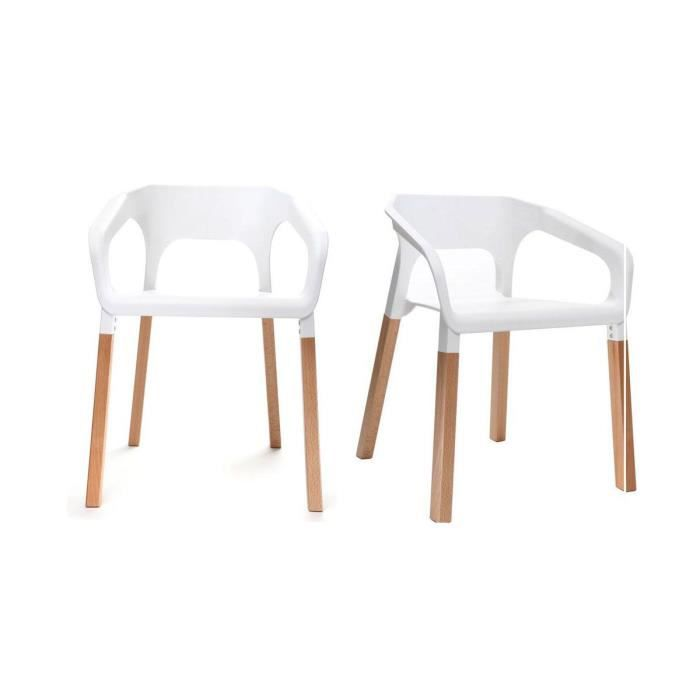 miliboo lot de deux chaises design scandinave achat vente chaise blanc cdiscount. Black Bedroom Furniture Sets. Home Design Ideas