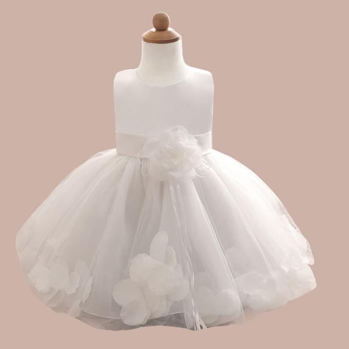 Robe De Soiree Enfant Fille Robe De Princesse Fillette Pour Mariage Ceremonie Col Rond Decore Des Fleurs A La Taille Et Au Bas Blanc Achat Vente Robe De Ceremonie Cdiscount