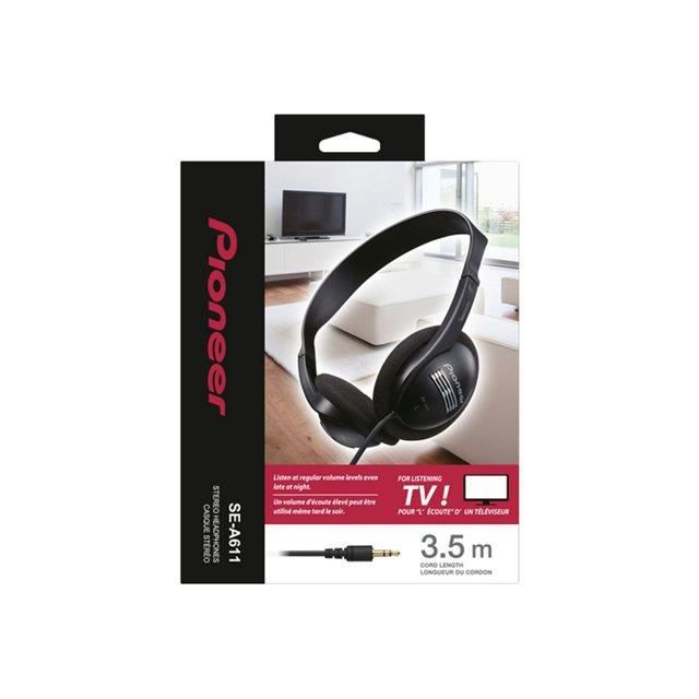 pioneer se a611 casque st r o tv 3 5m noir casque couteur audio avis et prix pas cher. Black Bedroom Furniture Sets. Home Design Ideas