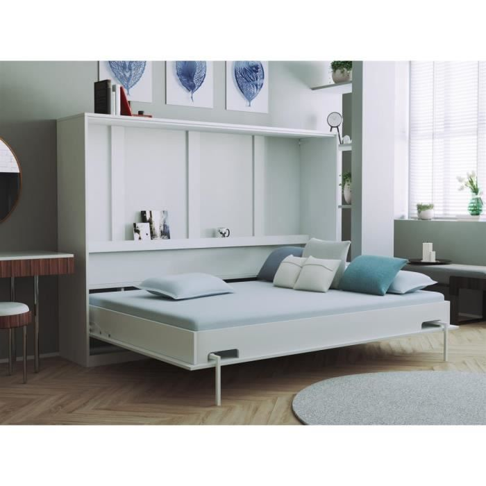 smartbett basic 140x200 horizontal blanc avec ressorts gaz armoire lit escamotable achat. Black Bedroom Furniture Sets. Home Design Ideas