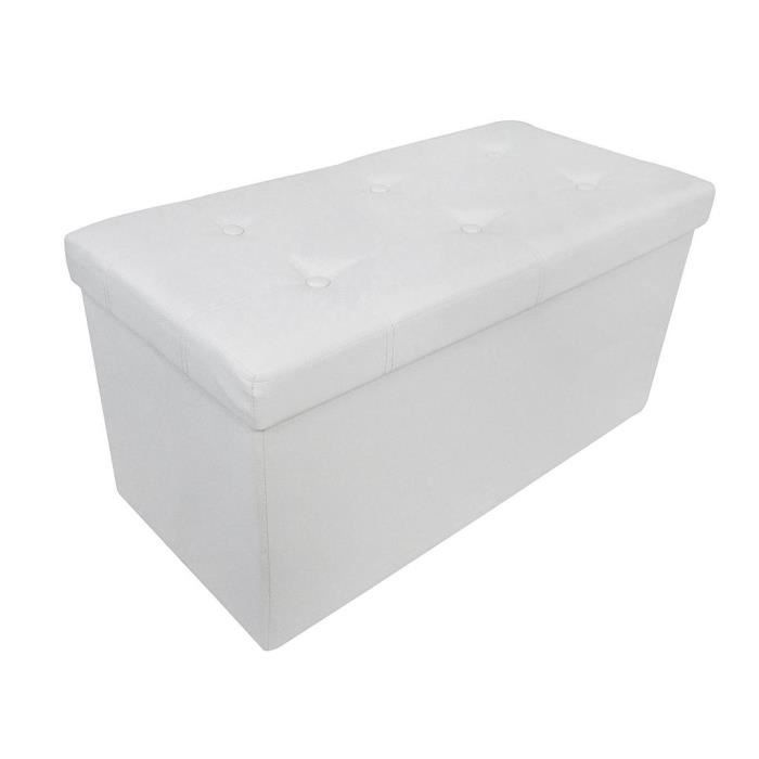 pouf coffre de rangement pliable blanc 76x38x38cm achat vente tabouret simili bois soldes. Black Bedroom Furniture Sets. Home Design Ideas