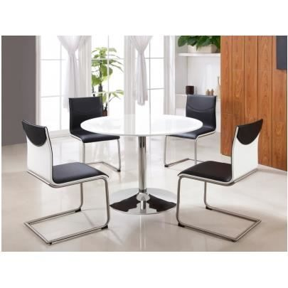 Table ronde prunelle 4 couverts mdf chrome achat for Table haute 6 couverts