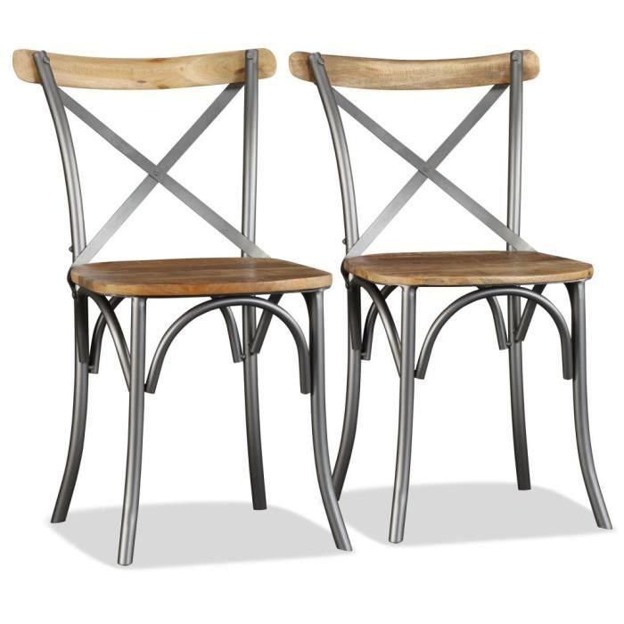 Chaise de salle massif Bois et 2pcs manger de manguier à 4RjL3A5