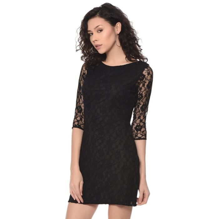 Womens Black Lace Midi Dress OWGVS Taille-38