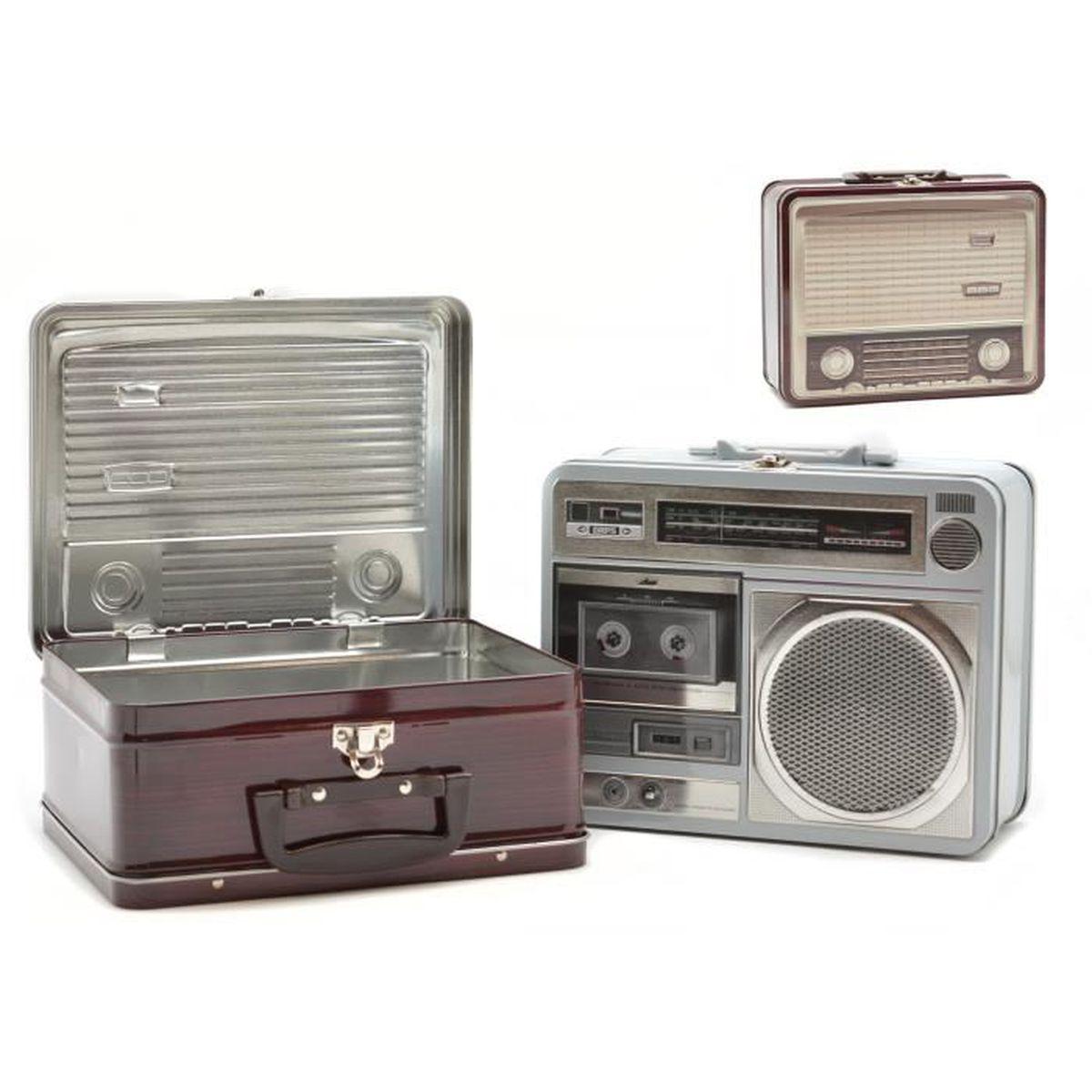 Boîte métal cuisine déco Radio ancienne - Grise