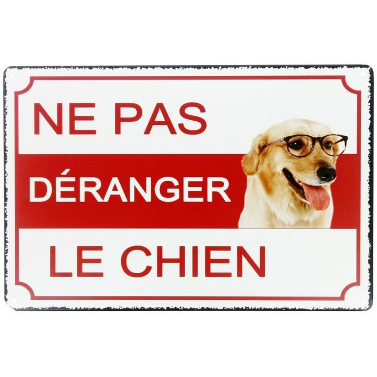plaque mural panneau en m tal chien attention danger design humour ne pas d ranger 20 x 20cm. Black Bedroom Furniture Sets. Home Design Ideas