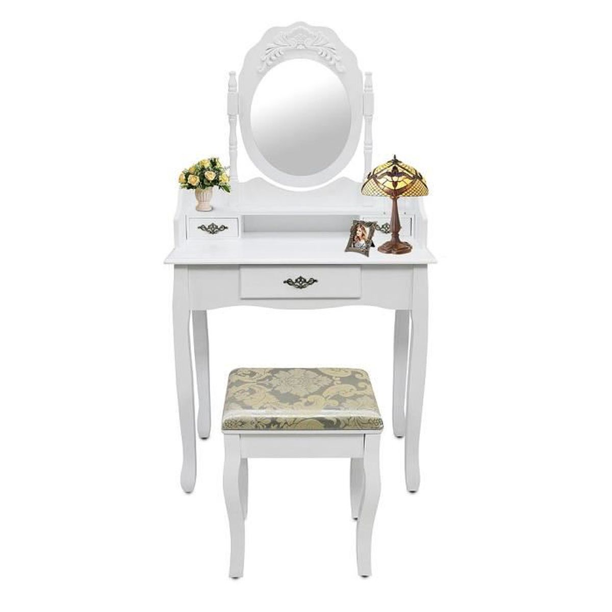 table de maquillage avec miroir et tabouret blanc coiffeuse 3 tiroirs achat vente. Black Bedroom Furniture Sets. Home Design Ideas