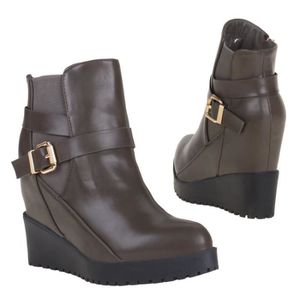 BOTTINE boots bottillon bottines style compensées marron f