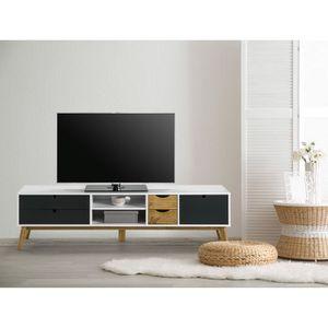 MEUBLE TV MURAL LILA Meuble TV 1 porte 4 tiroirs - Blanc et gris a