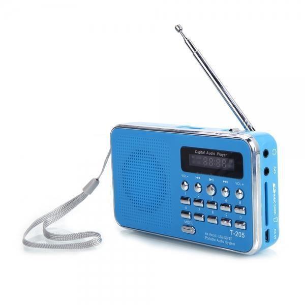 FM Radio Portable LCD Numérique FM Radio Haut-Parleur USB Carte SD Lecteur de Musique FM Radio Bleu