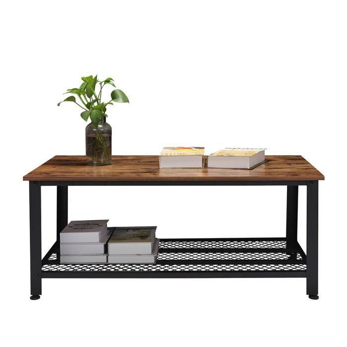 MIN-Table Basse Design Industriel Meuble TV Rectangle
