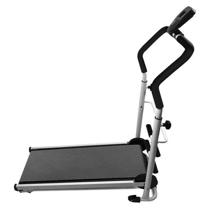 Tapis de Course mécanique/Tapis Roulant avec Barre de Sit-Up Charge maximale 100 kg-Maison-Noir