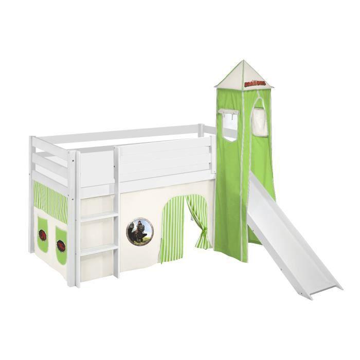 Lit surélevé ludique JELLE 90 x 190 cm Dragons vert - avec rideaux, tour et toboggan - LILOKIDS - blanc laqué - Disney accessoires p