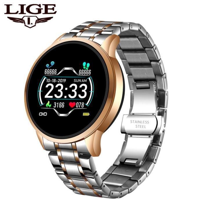 LIGE 2020 nouvelle montre intelligente hommes étanche Sport fréquence cardiaque pression artérielle Fitness Tracker - gold - WL8068