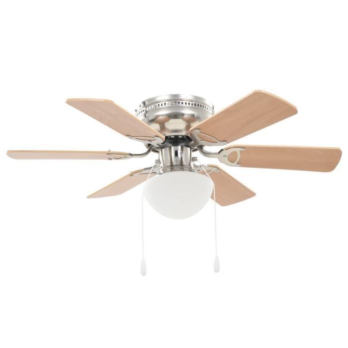 Ventilateur De Plafond - Ventilateur Plafonnier avec lumière 82 cm Marron clair