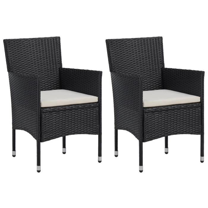 Nouveau - Lot de 2 Chaises de jardin Fauteuil de Jardin - Set de 2 Chaises Fauteuil - Résine tressée Noir *60382