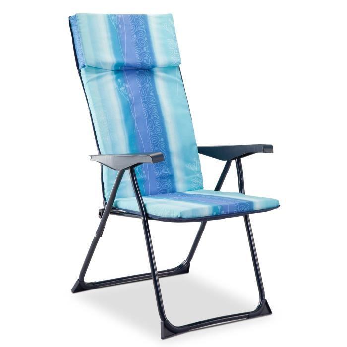 EREDU Fauteuil de camping - 5 positions - Bleu