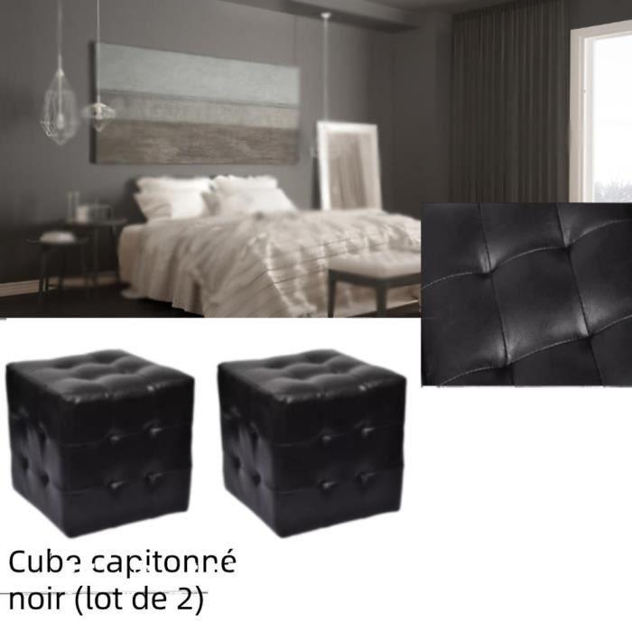 MEUBLE Pouf cube capitonné noir (lot de 2) simili cuir 30 × 30 × 30 cm Polyuréthane: 100% Tables de chevet - Zhihushop 28327