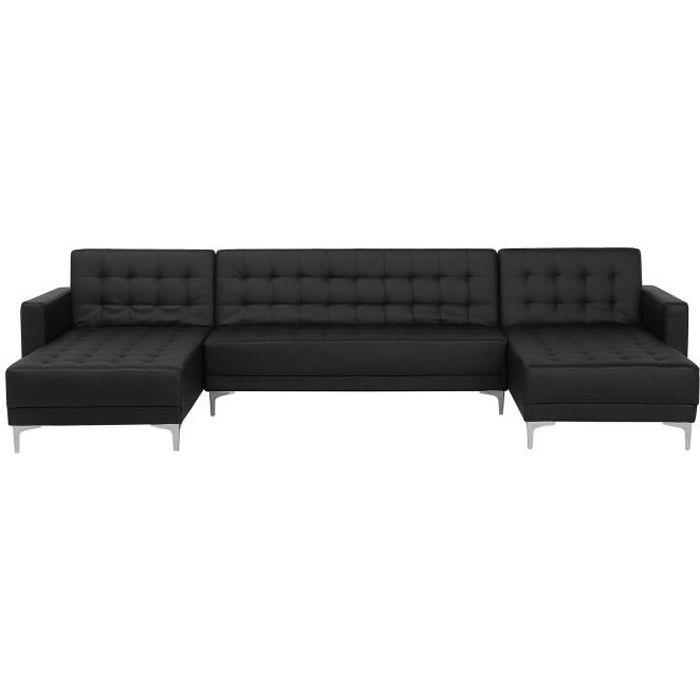 Beliani - Canapé en forme de U convertible en simili-cuir noir ABERDEEN
