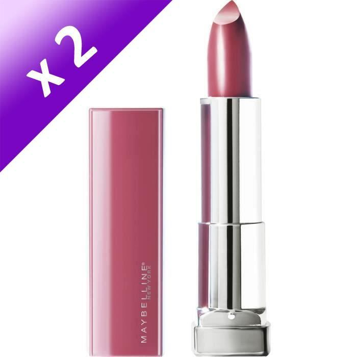MAYBELLINE Rouge à lèvres New York Color Sensation Made For All - 376 Pink For Me (Lot de 2)
