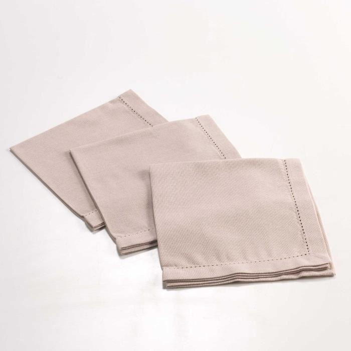 CDaffaires 3 serviettes de table 40 x 40 cm coton uni chareline Lin