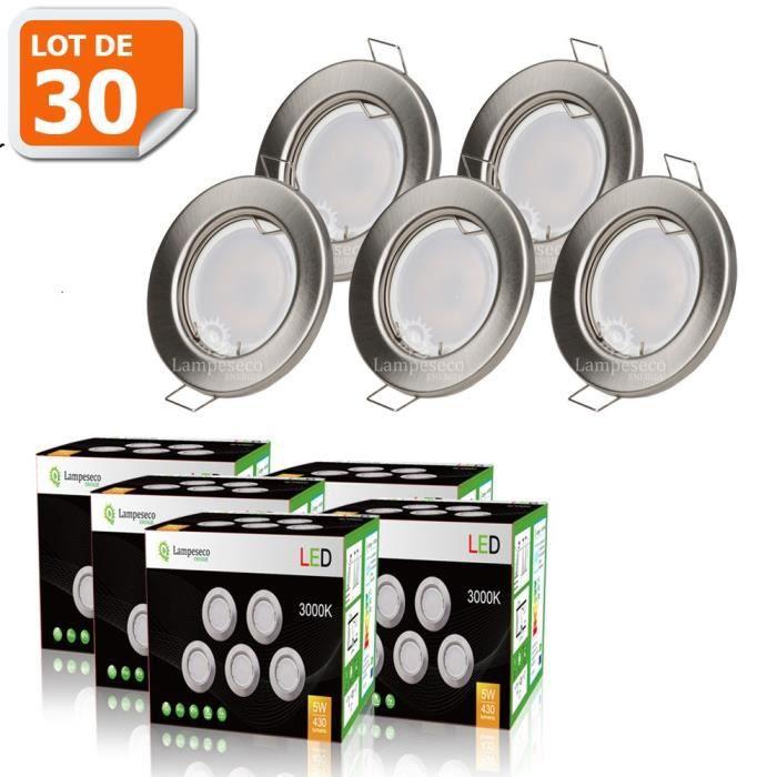 LOT DE 30 SPOT LED ENCASTRABLE COMPLETE RONDE FIXE ALU BROSSE eq. 50W BLANC CHAUD