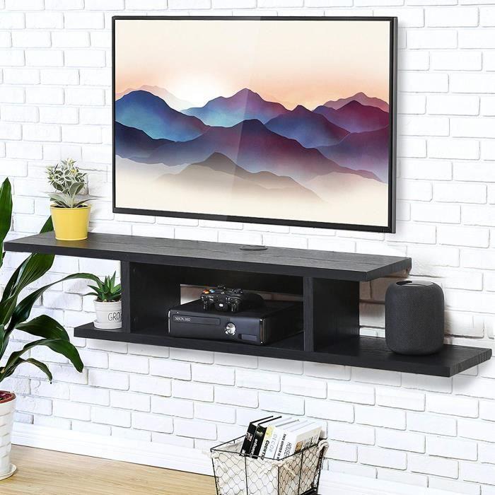 FITUEYES Meuble TV Flottant Noir Console Multimédia Murale Etagère pour DVD CD AV Equipement 126 cm