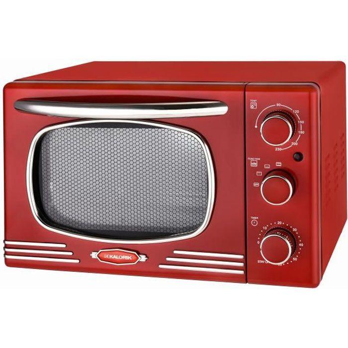 TKG OT 2500 R - Mini-four vintage - 19,5L - 1300W - Chauffe en voûte, sole ou combinée - 90-230°C - Rouge