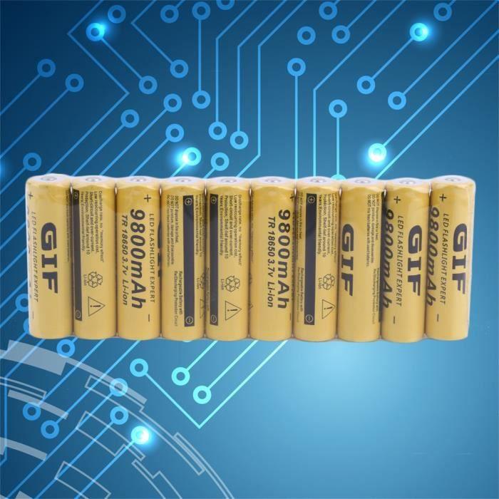 10 pcs 18650 Batterie Rechargeable Cellule 3.7 V 9800 MAH Batterie De Remplacement pour torche