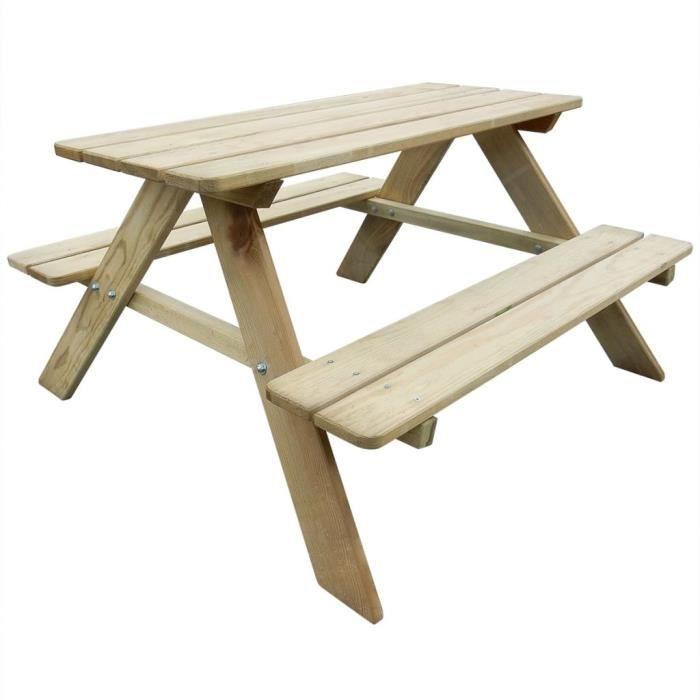 Tables d'extérieur Table de pique-nique pour enfants 89 x 89,6 x 50,8 cm Pinède