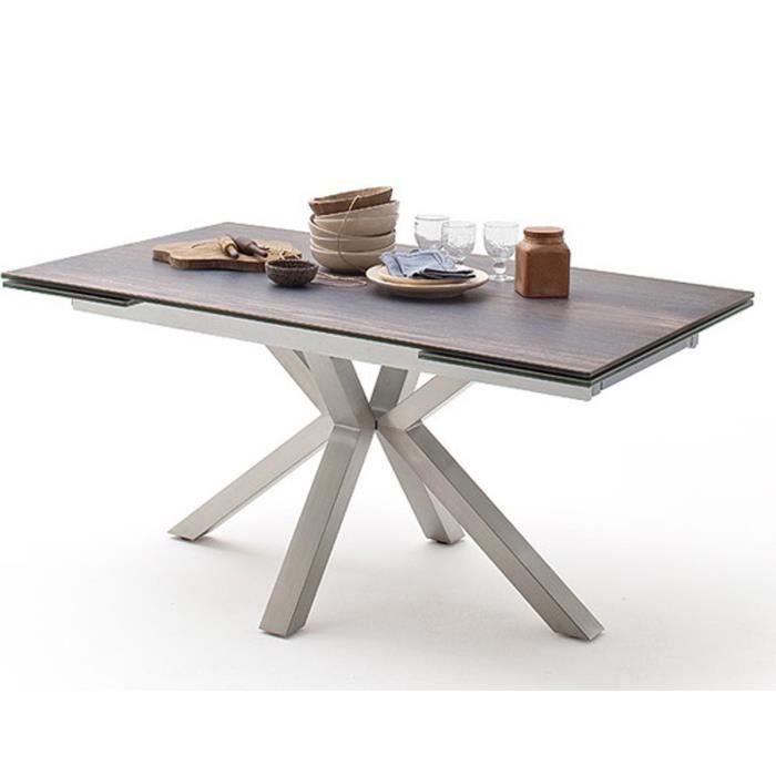 Table à manger extensible en céramique imi. bois Barique et acier brossé - L.160-240 x H.76 x P.90 cm