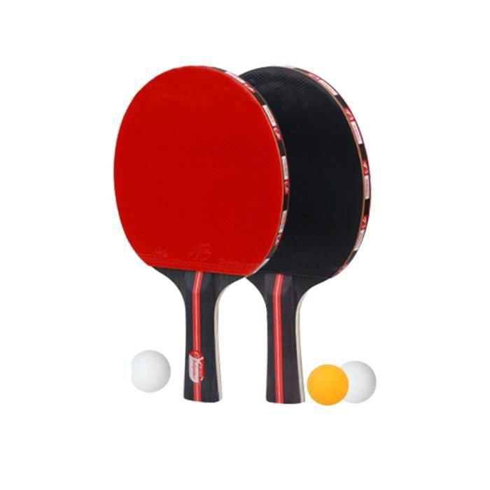 1 jeu de raquettes de tennis de table balles de ping-pong double face face en caoutchouc pour débutant formation raquette de