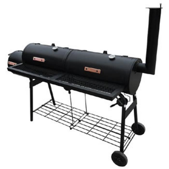 Barbecue américain Smoker fumoir double compartiment grill