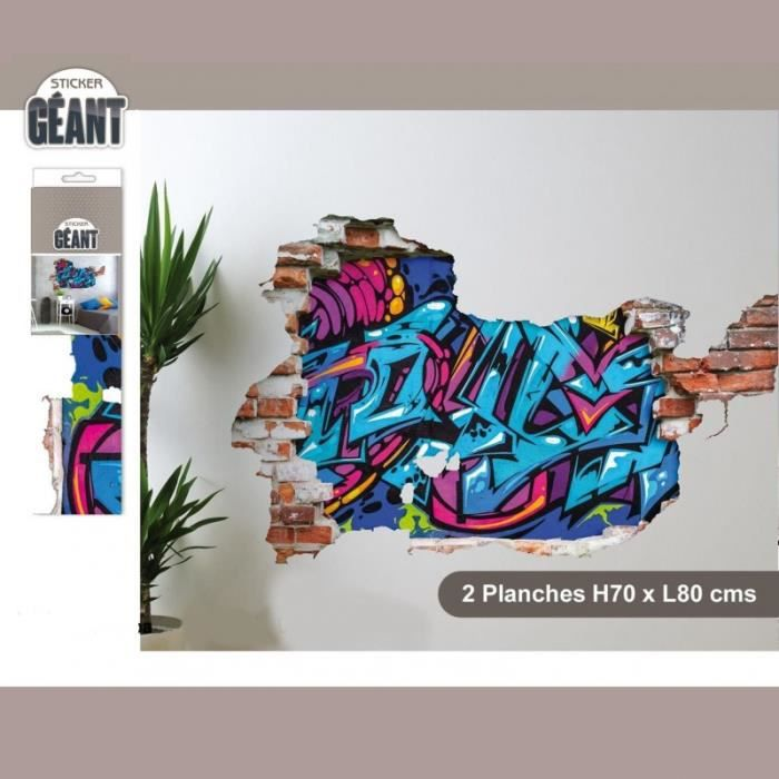 sticker mural g ant avec graffiti en trompe l 39 oeil achat vente stickers cdiscount. Black Bedroom Furniture Sets. Home Design Ideas