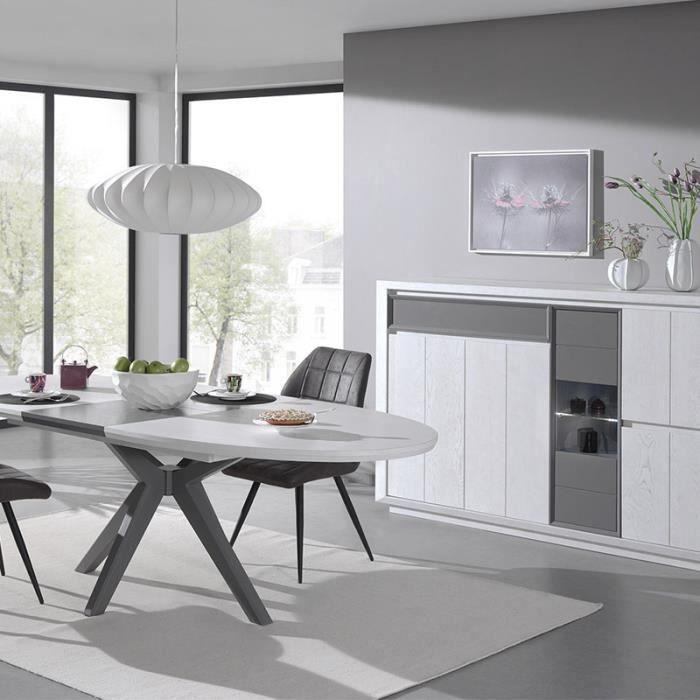 Salle à manger moderne couleur bois blanc et gris ARTIC Avec éclairage 130  cm 200 cm