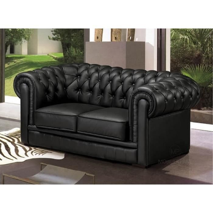 Canap 2 places en cuir italien chesterfield achat for Taille canape 2 places