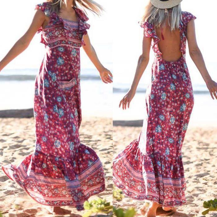 Robe Longue Femmes D Ete Boheme Sexy Cravate Avec Dos Nu Robes Imprimees Rouge Rouge Achat Vente Robe Bientot Le Black Friday Cdiscount