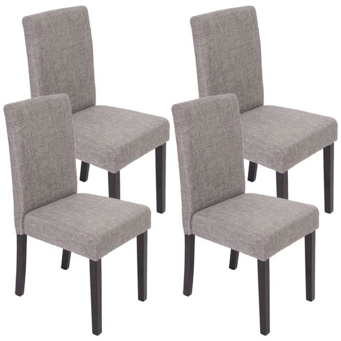 lot de 4 chaises de salle manger fauteuil littau coloris gris fonc achat vente chaise. Black Bedroom Furniture Sets. Home Design Ideas