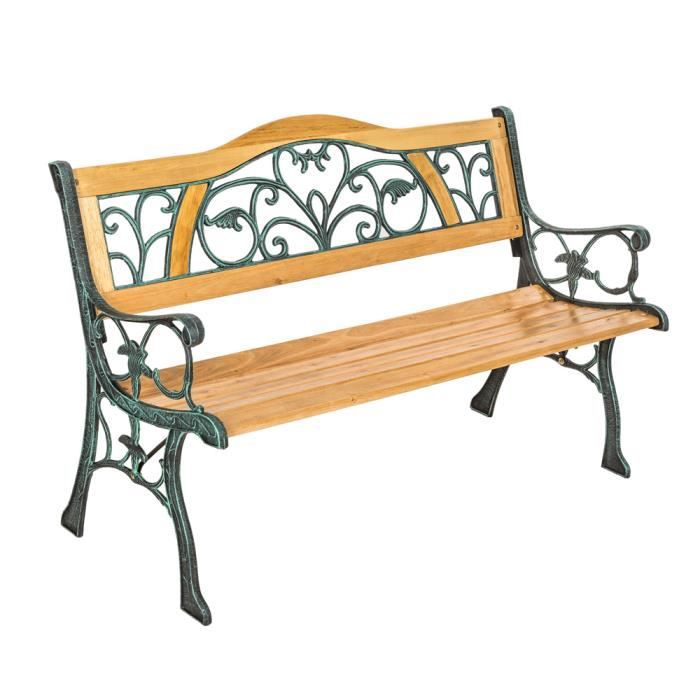 banc de jardin en bois et fonte tectake 124 cm x 60 cm x. Black Bedroom Furniture Sets. Home Design Ideas