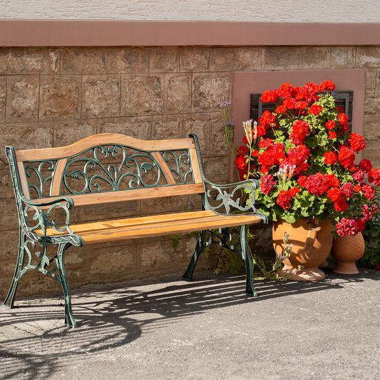 TECTAKE Banc de Jardin en Bois et Fonte 124 cm x 60 cm x 83 cm - Motif  Romantique