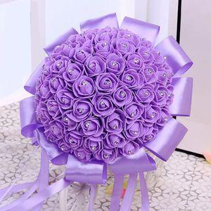 FLEUR ARTIFICIELLE VIOLET bouquet de fleur boule de rose artificiel p