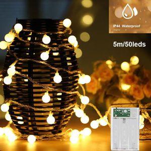 GUIRLANDE LUMINEUSE INT Guirlande Lumineuse LED à Piles 5M 50 Boules Blanc