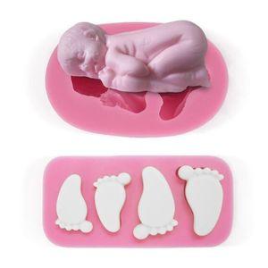 MOULE  JL 2pcs moule silicone bébé endormi pieds empreint