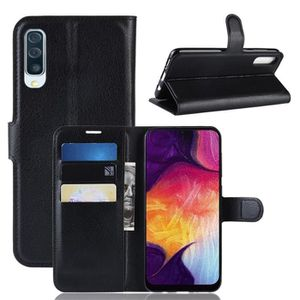 HOUSSE - ÉTUI Coque Samsung Galaxy A50 Noir, - Motif Litchi PU C