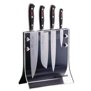 Noir Set de 7 couteaux style japonais Céramique anti-bactérie bloc magnétique