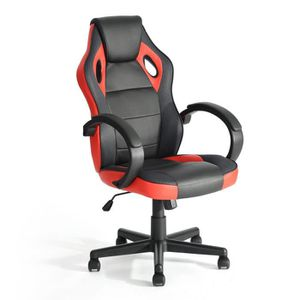 CHAISE DE BUREAU Homy Casa Chaise de Bureau Rouge et Noir Chaise de