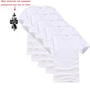 T-SHIRT Lot de 5 T shirt Homme uni Tee shirt Hommes Col ro