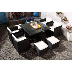 SALON DE JARDIN  Le Vito : Salon jardin noir encastrable en résine