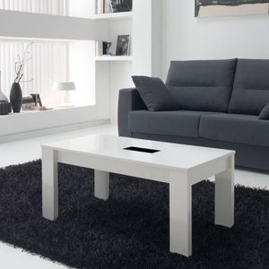 TABLE BASSE Table basse blanche relevable - MYSIA n°2 - L 100