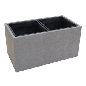 JARDINIÈRE - BAC A FLEUR Cache-pot en fibre de ciment - 37x69x37cm - Gris